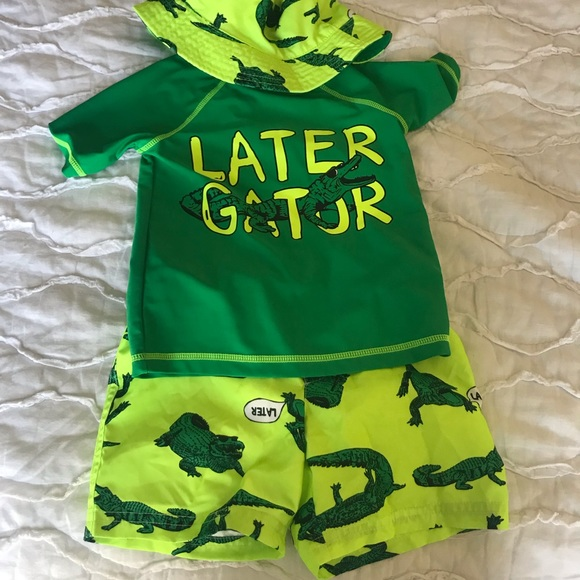 "Orange Baby Boy Carter/'s /""Later Gator/"" Tee /& Swim Trunks Set 12 Months"